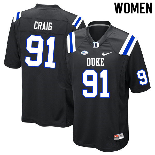Women #91 Ahmad Craig Duke Blue Devils College Football Jerseys Sale-Black
